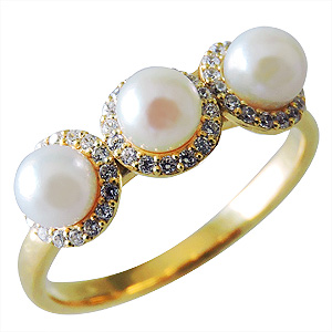 パールリング レディース 真珠の指輪 14Kイエローゴールド ダイヤモンド k18ゴールド 18金 真珠4mm アンティーク調 人気 ギフト 品質保証書付 送料無料 普段使い カジュアル
