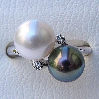 母の日 2019 真珠 リング パール タヒチ黒蝶真珠 南洋白蝶真珠 8mm-9mm ダイヤモンド K18WG 指輪