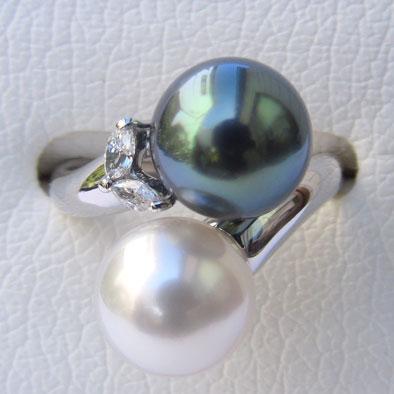 真珠 リング パール タヒチ黒蝶真珠 南洋白蝶真珠 ダイヤモンド 18金 K18WG 指輪 普段使い