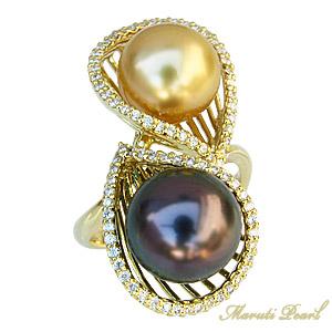 母の日 2019 南洋白蝶真珠 タヒチ黒蝶真珠 指輪 マルチカラーパール ダイヤモンド 0.40ct K18ゴールド リング 10mm