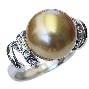 真珠 パール リング 南洋白蝶真珠 12mm プラチナ 指輪