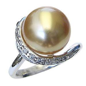 母の日 2019 真珠 パール リング 南洋白蝶真珠 12mm K18WG ホワイトゴールド 真珠 パール 指輪