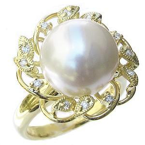 真珠 パール リング 南洋白蝶真珠 ピンクホワイト系 12mm ゴールド K18 ゴールド 18金 指輪 普段使い