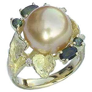 ブライダル リング パール 指輪 南洋真珠パールリング K10ゴールド ダイヤモンド 送料無料