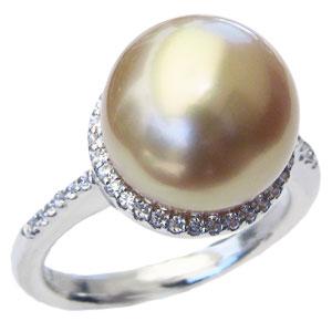 真珠 パール リング 南洋白蝶真珠 12mm ダイヤモンド 18金 K18WG ホワイトゴールド 指輪 ゴールドパール 普段使い
