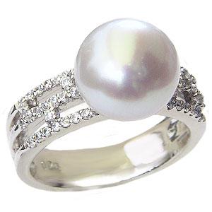 真珠 パール リング 南洋白蝶真珠 10mm ピンクホワイト系 PT900 プラチナ ダイヤモンド リング