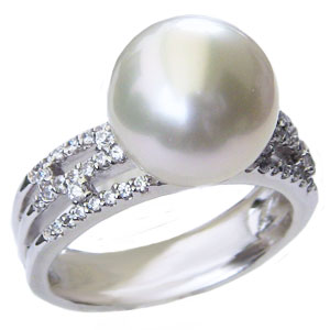 真珠 パール リング 南洋白蝶真珠 11mm 指輪 ホワイト系 PT900 プラチナ ダイヤモンド