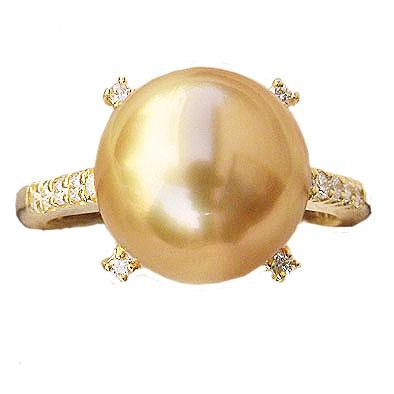 真珠 リング パール リング 南洋白蝶真珠 ゴールド系 ダイヤモンド 11mm 18金 K18 送料無料 普段使い
