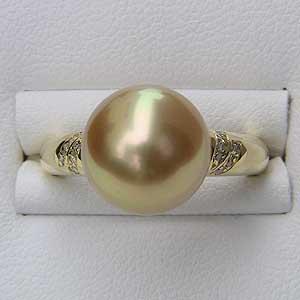 南洋白蝶真珠 リング ダイヤモンド 18金 K18 パール ゴールド系 ラウンド形 指輪 普段使い