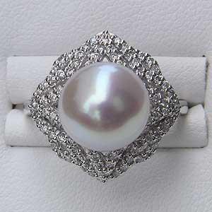 南洋白蝶真珠 リング ダイヤモンド PT900 プラチナ パール ピンクホワイト系 ラウンド形 指輪