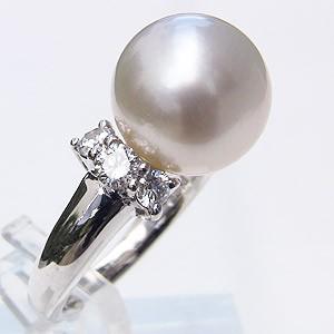 南洋白蝶真珠 ダイヤモンド PT900 プラチナ リング ピンクホワイト系 12mm 指輪