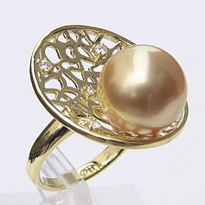 南洋白蝶真珠 リング ダイヤモンド パール ゴールド系 12mm 18金 K18 ゴールド 指輪 普段使い