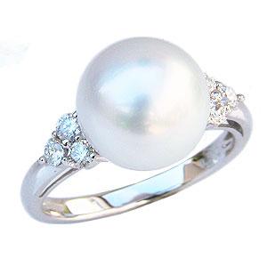 ダイヤモンド 18金 指輪 リング ホワイトゴールド K18WG パール 普段使い 10mm 南洋白蝶真珠