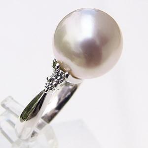 南洋白蝶真珠 ダイヤモンド PT900 プラチナ リング ピンクホワイト系 指輪