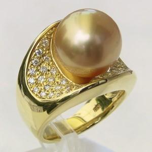 南洋白蝶真珠 ダイヤモンド0.41ct K18 リング ゴールド系 12mm ラウンド形 指輪