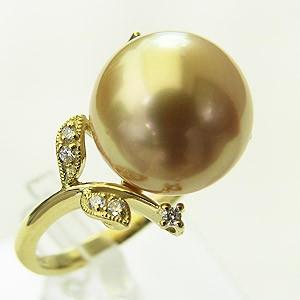南洋白蝶真珠 ダイヤモンド0.06ct K18 リング ゴールド系 12mm ラウンド形 指輪