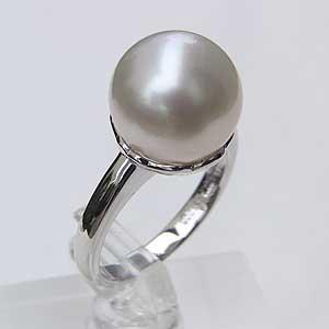 母の日 2019 南洋白蝶真珠 PT900 プラチナ リングピンクホワイト系 ラウンド形 指輪