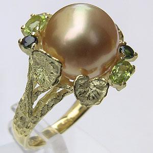 ペリドット トルマリン ゴールデンパール 南洋白蝶真珠 ダイヤモンド 0.02ct 18金 K18 リング 指輪 12mm珠 ゴールドパール ラウンド形 普段使い