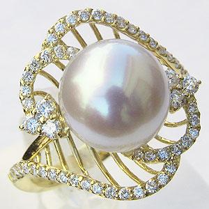 真珠 パール リング 南洋白蝶真珠 ピンクホワイト系 10mm ゴールド K18 ゴールド 18金 指輪 普段使い