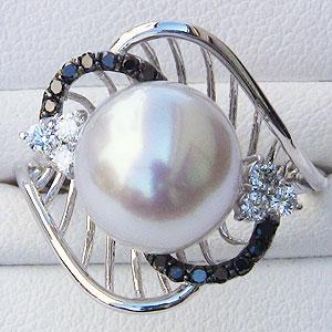 真珠 パール リング 南洋白蝶真珠 10mm ホワイトゴールド 真珠 パール 指輪OkuZiXP