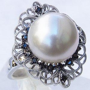 母の日 2019 真珠 パール リング 南洋白蝶真珠 12mm ホワイトゴールド リング ブラックダイヤモンド 真珠 パール 指輪