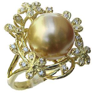 真珠 パール リング 南洋白蝶真珠 ゴールド系 12mm ゴールド K18 ゴールド 18金 指輪 普段使い
