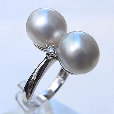 南洋白蝶真珠 ダイヤモンド パール リング ピンクホワイト系 10.3mm PT900 プラチナ 指輪