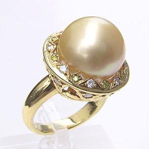 南洋白蝶真珠 ダイヤモンド パール リング ゴールド系 14.5mm 18金 K18 ゴールド 指輪 普段使い