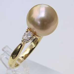 南洋白蝶真珠 リング クリーム系 11mm K18 指輪 ラウンド形