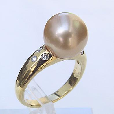 南洋白蝶真珠 ダイヤモンド パール リング ゴールド系 10mm 18金 K18 指輪 普段使い5q3AL4Rj