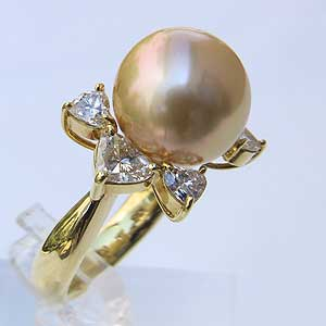 南洋白蝶真珠 K18 リング ダイヤモンド ゴールド系 11mm 指輪