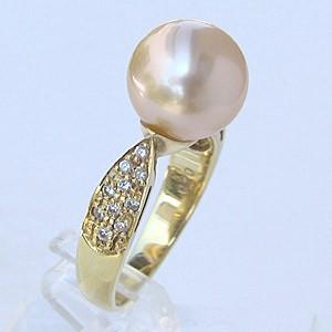 母の日 2019 南洋白蝶真珠 リング ダイヤモンド パール クリーム系 10mm K18 ゴールド 指輪