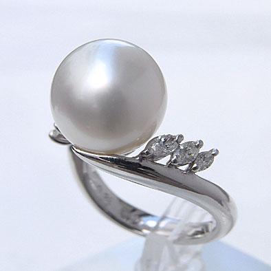 母の日 2019 南洋白蝶真珠 ダイヤモンド パール リング ピンクホワイト系 12mm PT900 プラチナ 指輪