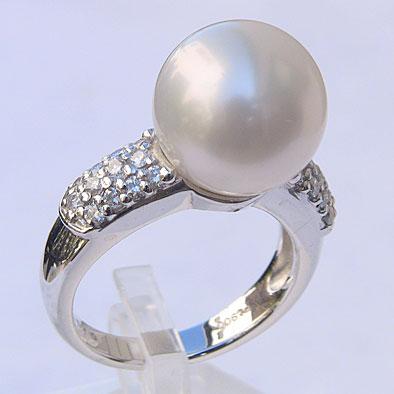 母の日 2019 南洋白蝶真珠 ダイヤモンド パール リング ホワイト系 12mm PT900 プラチナ 指輪