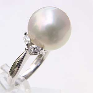 母の日 2019 南洋白蝶真珠 PT900 プラチナ900 リング ダイヤモンド ピンクホワイト系 13.5mm 指輪