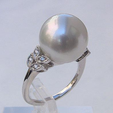 南洋白蝶真珠 ダイヤモンド パール リング ブルーグレー系 13mm PT900 プラチナ 指輪