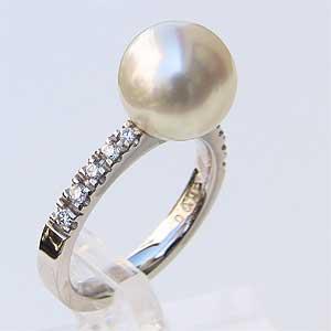 南洋白蝶真珠 リング ダイヤモンド パール ピンクホワイト系 10mm 18金 K18WGホワイトゴールド 指輪 ラウンド形 普段使い