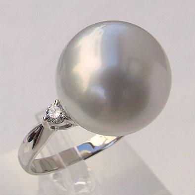 南洋白蝶真珠 ダイヤモンド パール リング ホワイトピンク系 14mm 18金 K18WG ホワイトゴールド 指輪 普段使い