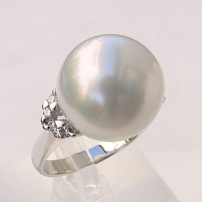 南洋白蝶真珠 ダイヤモンド パール リング ホワイトグリーン系 14mm 18金 K18WG ホワイトゴールド 指輪 普段使い