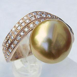 真珠 パール リング 南洋白蝶真珠 12.5mm 18金 K18PG ピンクゴールド リング 普段使い
