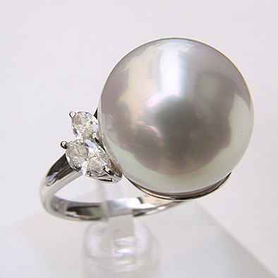 南洋白蝶真珠 ダイヤモンド パール リング ブルーホワイト系 15mm PT900 プラチナ 指輪