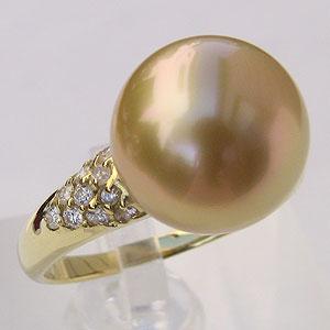 真珠 リング 南洋白蝶真珠 ゴールド系 12mm K18