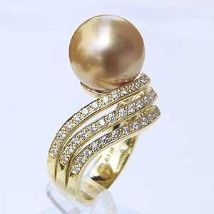 南洋白蝶真珠 K18 リング ダイヤモンド ゴールド系 12mm 指輪