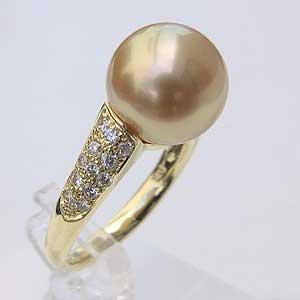 母の日 2019 南洋白蝶真珠 K18 リング ダイヤモンド パール ゴールド系 11mm ラウンド形 指輪