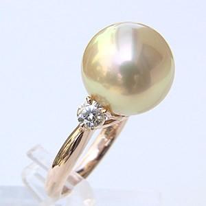 南洋白蝶真珠 リング ダイヤモンド パール 13mm ライトイエロー系 18金 K18PG ピンクゴールド 指輪 普段使い