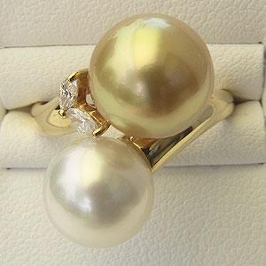 南洋白蝶真珠 K18 リング マーキスダイヤモンド ピンクホワイト系 ゴールド系 指輪