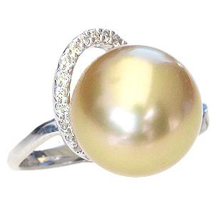 パール リング 真珠 指輪 南洋白蝶真珠 ゴールド系 11mm Pt900 プラチナ ダイヤモンド