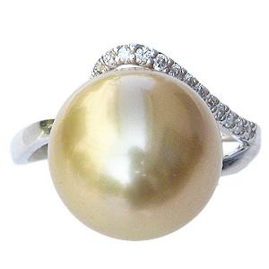 パール リング 真珠 指輪 南洋白蝶真珠 12mm 18金 K18WG ホワイトゴールド ダイヤモンド 普段使い