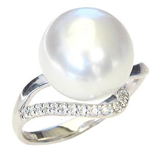 真珠パール 6月誕生石 リング 南洋白蝶真珠 ピンクホワイト系 11mm K10WG ホワイトゴールド 指輪 ダイヤモンド