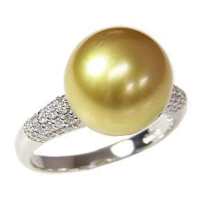 母の日 2019 ブライダル リング パール 指輪 ホワイトゴールド 南洋真珠パールリング ダイヤモンド